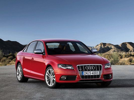 Audi S4 Wallpaper, Red Super Car Among Great Nature Landscape