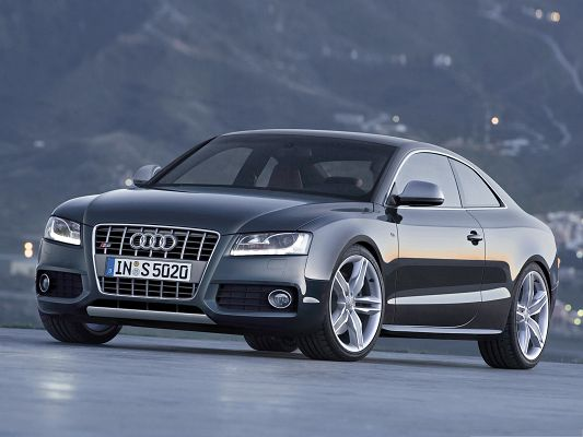 click to free download the wallpaper--Audi S5 Coupe Car Wallpaper, Gray Super Car in the Run, Decent and Impressive
