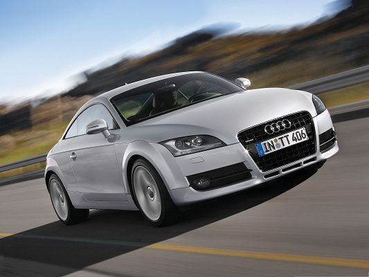 click to free download the wallpaper--Audi TT Car as Wallpaper, Silver Super Car in Pretty Full Speed, Combine Great Nature Scene