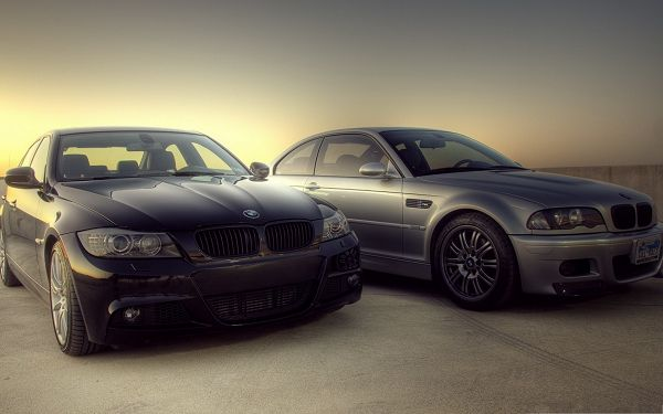 click to free download the wallpaper--BMW M3 Cars Background, Two Super Cars in the Stop, Generating Golden Light