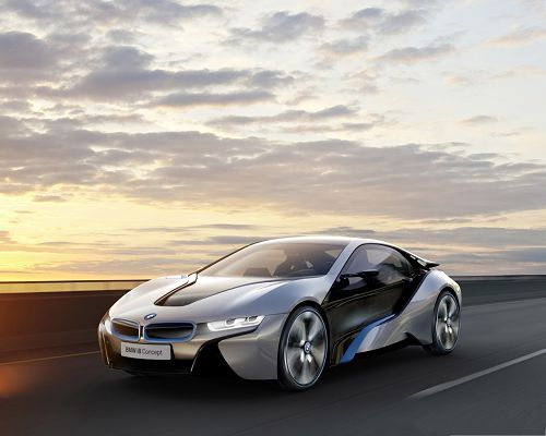 click to free download the wallpaper--BMW i8 Concept Car, Nice and Super Car in the Run, Wide Black Road