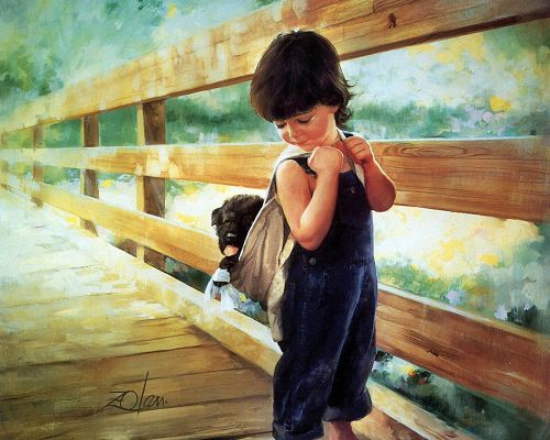click to free download the wallpaper---Baby Boy Going for School, a Puppy is in Schoolbag, Must be Fun to Play with, This is Childhood - Childhood Painting Wallpaper