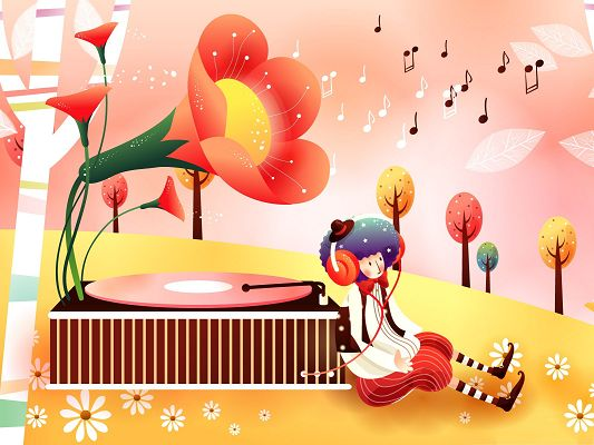 click to free download the wallpaper--Background for the Computer - Childhood Fairytales Gramophone, Fantasy Scene