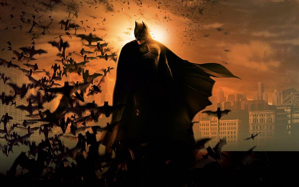 click to free download the wallpaper--Batman 3 Post The Dark Knight Rises in 1920x1200 Pixel, Man Surrounded by Black Birds and the Setting Sun, Quite an Attraction - TV & Movies Post