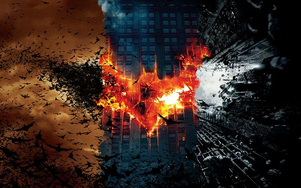 click to free download the wallpaper--Batman Dark Knight Trilogy in 2560x1600 Pixel, Batman Seems on Fire, Black Birds All Over the Sky, Something Big is About to Happen - TV & Movies Wallpaper