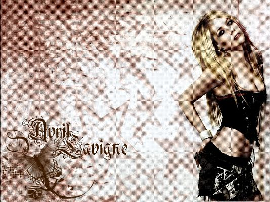 click to free download the wallpaper--Beautiful Actress Wallpapers, Avril Lavigne in Hot Suit, She is Appealing