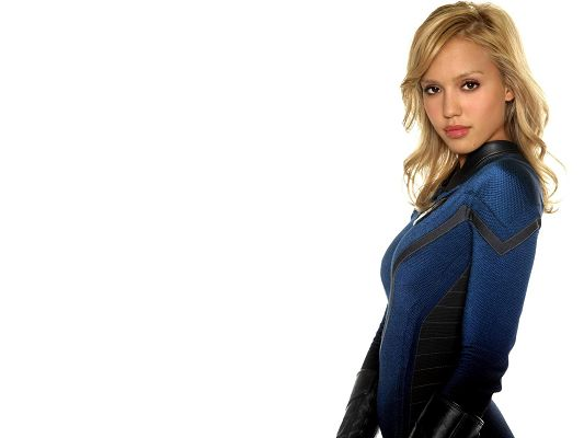 click to free download the wallpaper--Beautiful Actresses Poster, Jessica Alba in Blue Uniform, God, She is Amazing