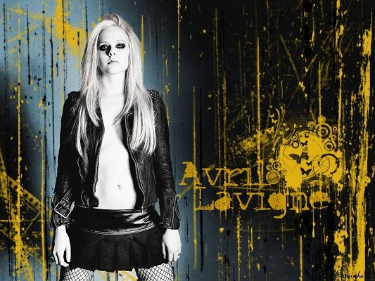 Beautiful Actresses Wallpaper, Avril Lavigne Without Bra, Black Suit, Smokey Cosmetics