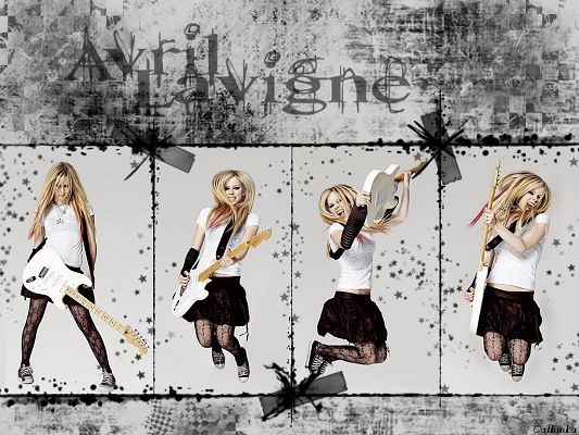 click to free download the wallpaper--Beautiful Artists Post, Avril Lavigne in Guitar, She is Happy and Dancing