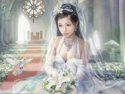 click to free download the wallpaper--Beautiful Bride Pic, the Shy and Quiet Bride, is Worried Yet Expecting