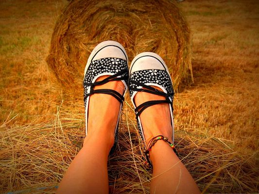 Beautiful Feet Images, Girl Sitting on Hay Bale, Endless Field