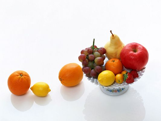 click to free download the wallpaper--Beautiful Fruits Image, Various Fresh Fruits in a White Plate, Can't Hold Them All
