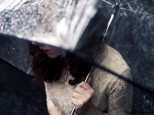 click to free download the wallpaper--Beautiful Girl Image, Girl in Umbrella, Heavy Rain, She is Beautiful