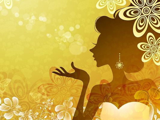 click to free download the wallpaper--Beautiful Girl Image, the Decent Princess Blowing a Kiss, Vector Design