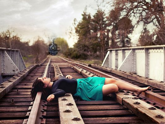 Beautiful Girl Outdoor, Nice-Looking Girl on Train Track, Are You Commiting Suicide