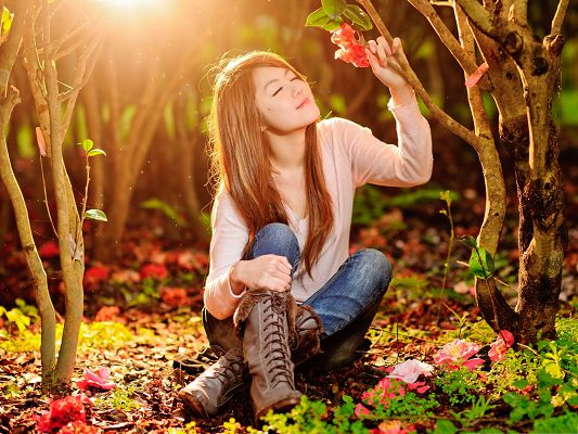 Beautiful Girl Outdoor, Smelling Red Flower, Sunshine All Over, Great Landscape
