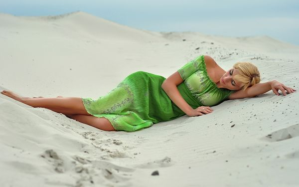 Beautiful Girl Photography, Tall Girl in Green Dress, Lying on Sand