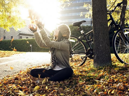 click to free download the wallpaper--Beautiful Girl Pictures, Nice Girl Sitting on Brown Leaves, Sunshine All Over Her