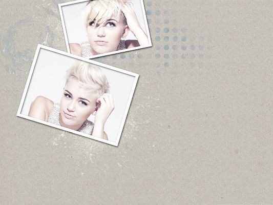 click to free download the wallpaper--Beautiful Girl as Background, Miley Cyrus in New Haircut, Smiling Beauty