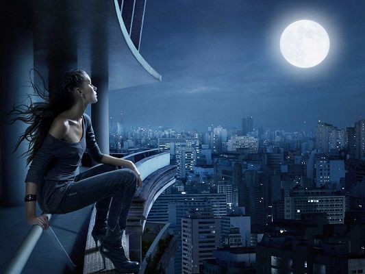 Beautiful Girls Image, Girl Sitting Outdoor, Enjoying the Moon, Plan to Go for It?