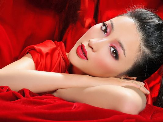 Beautiful Girls Photos, Young Lady in Red, Cheerful and Shall Fit Various Devices