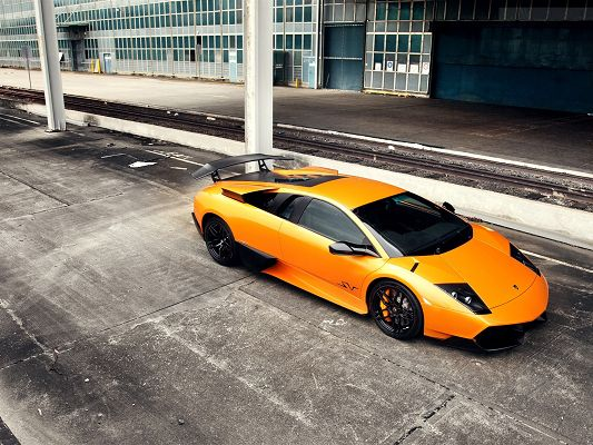 click to free download the wallpaper--Beautiful Image of Nature Landscape, Orange Lamborghini Murcielago, Never Fail to Attract Attention