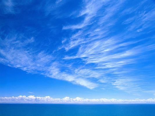 Beautiful Image of Nature Landscape, the Blue Sky and Blue Sea, Clouds Are Soft and Mere