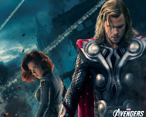 click to free download the wallpaper--Beautiful Image of TV & Movies, Thor and Black Widow, an Explosion Breaking Out