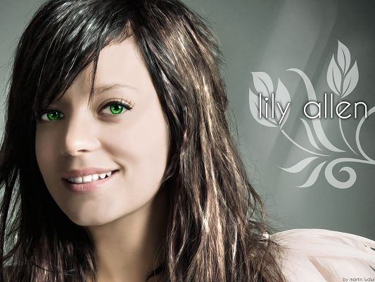 click to free download the wallpaper--Beautiful Image of TV Show, Lily Allen in Curly Brown Hair, Green Eyes and Perfect Face