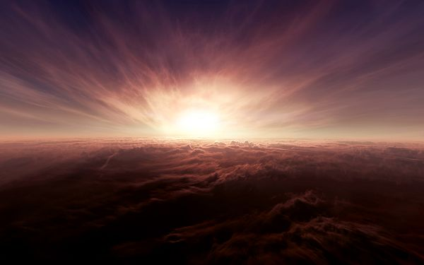 click to free download the wallpaper--Beautiful Images of Nature - Above the Clouds in Pixel of 1920x1200, the Rising Sun is Generous and Great, Magnificent Scene