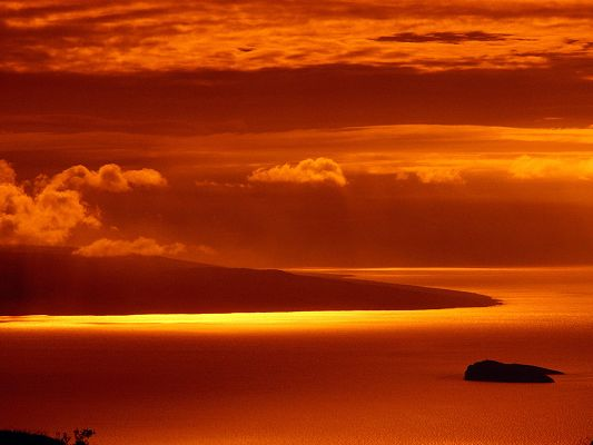 Beautiful Images of the World, Hawaii Hot Sunset, Amazing Scene