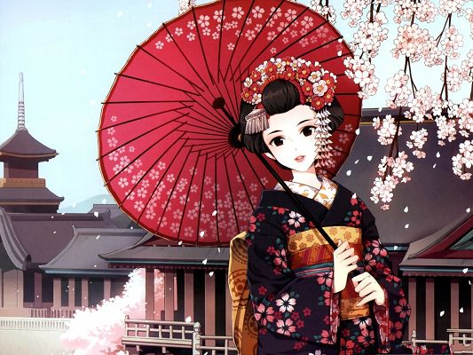 click to free download the wallpaper--Beautiful Japanese Girl, in Kimono and Red Umbrella, Pink Cherries Above