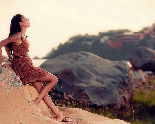 Beautiful Lady Pics, Brunette Model Leaning on Rocks, a Hopeful Girl