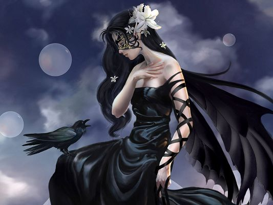Beautiful Lady Post, a Mysterious Girl in Black Dress, a Crow Facing Her