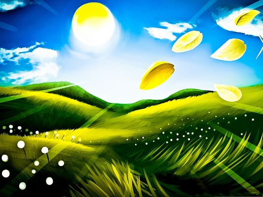 click to free download the wallpaper--Beautiful Landscape Drawing, Golden Leaves in the Fly, Green Twisting Grass