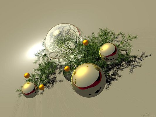 click to free download the wallpaper--Beautiful Landscape Image, Holidays Gold on the Green Tree