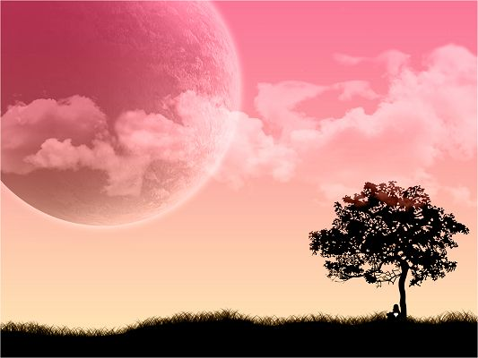 click to free download the wallpaper--Beautiful Landscape of Nature, Man Leaning on a Tree, Having a Pink and Sweet Dream