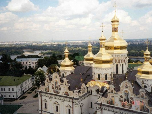 Beautiful Landscape of the World, Kiev Ukraine Under the Blue and Cloudless Sky
