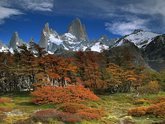 click to free download the wallpaper--Beautiful Landscape of the World, Los Glaciares, Snow-Capped Mountains, Amazing Look