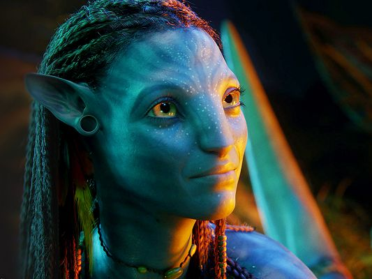 click to free download the wallpaper--Beautiful Neytiri Post in Avatar Available in 1600x1200 Pixel, a Smiling Girl Looking at Some Direction, Quite an Impressive Girl -TV & Movies Post