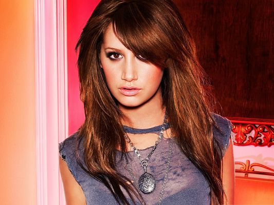 click to free download the wallpaper--Beautiful Photo Images, Ashley Tisdale in Brown Hair, Peaceful Power