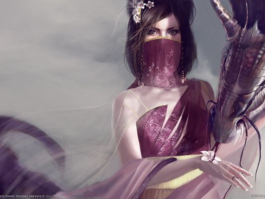 Beautiful Pic of TV Shows, Fantasy Girl with Her Dragon, Covered Face