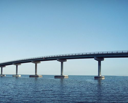 Beautiful Pics of Natural Scenery, an Arched Bridge on the Peaceful Sea, the Blue Sky, What a Scene!