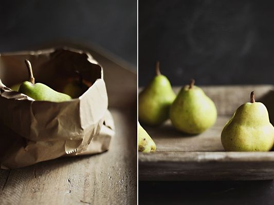 click to free download the wallpaper--Beautiful Pics of Nature, Ripe Pears, One Put in Paper, Ready to be Given as Gift