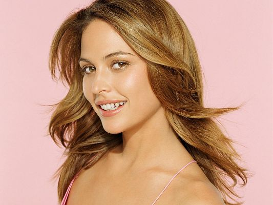 Beautiful Poster of Artists, Josie Maran Smiling, Pink Background, She is the Sweet Princess