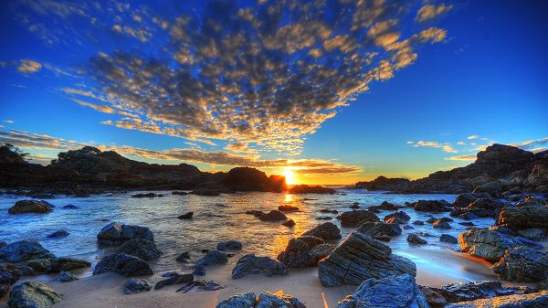Beautiful Sceneries of Nature - The Rising Sun, Gathering Thick Clouds, the Stony River, Looking Great