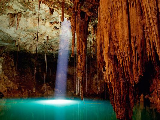 Beautiful Sceneries of the World - Cenote Dzitnup Mexico Post in Pixel of 1600x1200, Light Pouring on the Pool, Impressive Scene