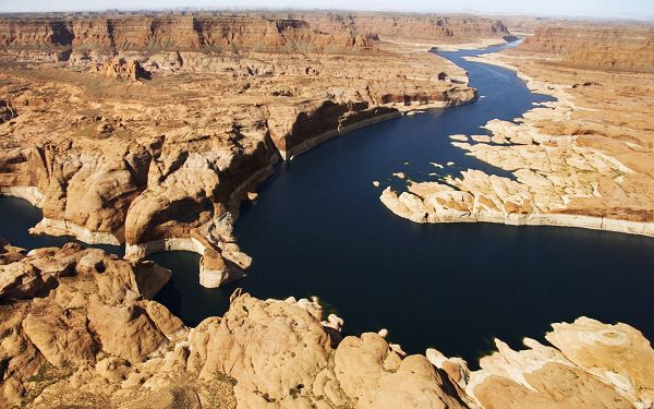 Beautiful Sceneries of the World - Glen Canyon Utah Post in Pixel of 1920x1200, Yellow Hills All Around the Peaceful Sea