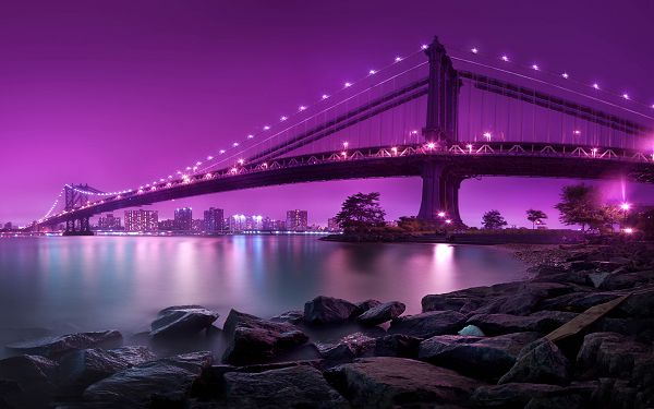 Beautiful Sceneries of the World - Manhattan Bridge Picture in Pixel of 2560x1600, the Bridge and the Sky in Purple, Great in Look