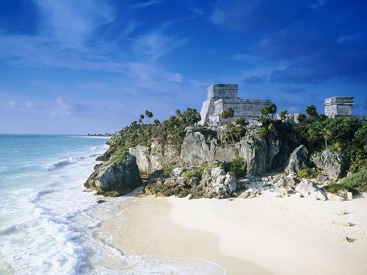 click to free download the wallpaper--Beautiful Sceneries of the World - Mayan Ruins Tulum Mexico, the Clear and White Sea, the Blue Sky, Combine an Incredible Scene
